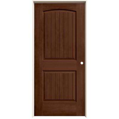 36 in. x 80 in. Santa Fe Milk Chocolate Stain Left-Hand Molded Composite MDF Single Prehung Interior Door