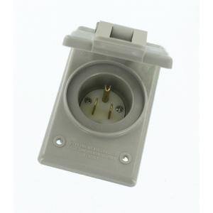 Leviton 15 Amp 125-Volt Straight Blade Grounding Power Inlet Outlet, Gray by Leviton