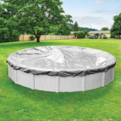 Platinum 28 ft. Pool Size Round Silver Solid Above Ground Winter Pool Cover