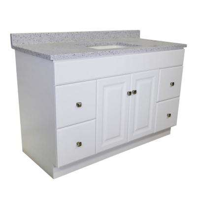 RTA 49 in. x 22 in. 2-Door 4-Drawer Bath Vanity in White with CM Moonscape Vanity Top in Grey with White Basin