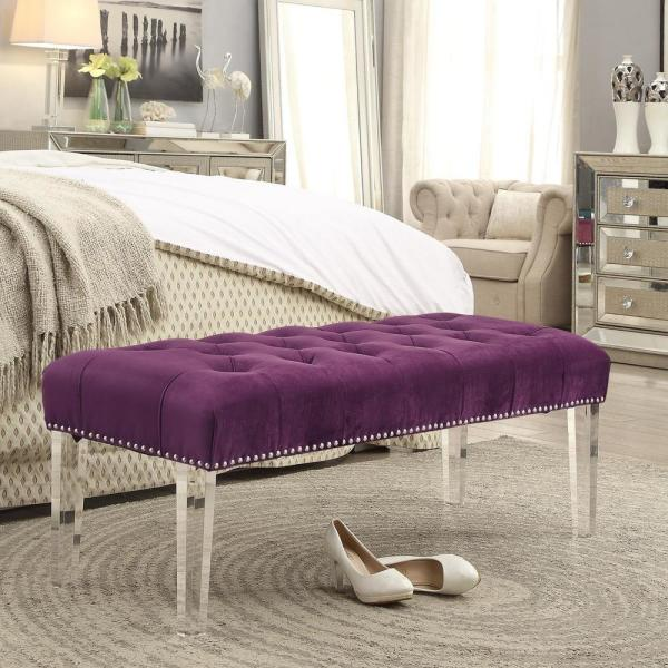 Inspired Home Willow Purple/Silver Velvet Ottoman Bench with Button Tufted