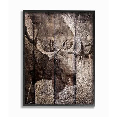 """11 in. x 14 in. """"Brown Moose Planked Look Photography"""" by Kimberly Allen Framed Wall Art"""