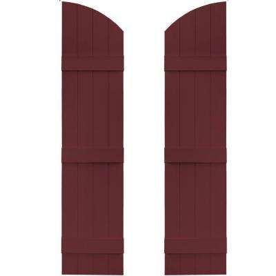 14 in. x 57 in. Board-N-Batten Shutters Pair, 4 Boards Joined with Arch Top #078 Wineberry