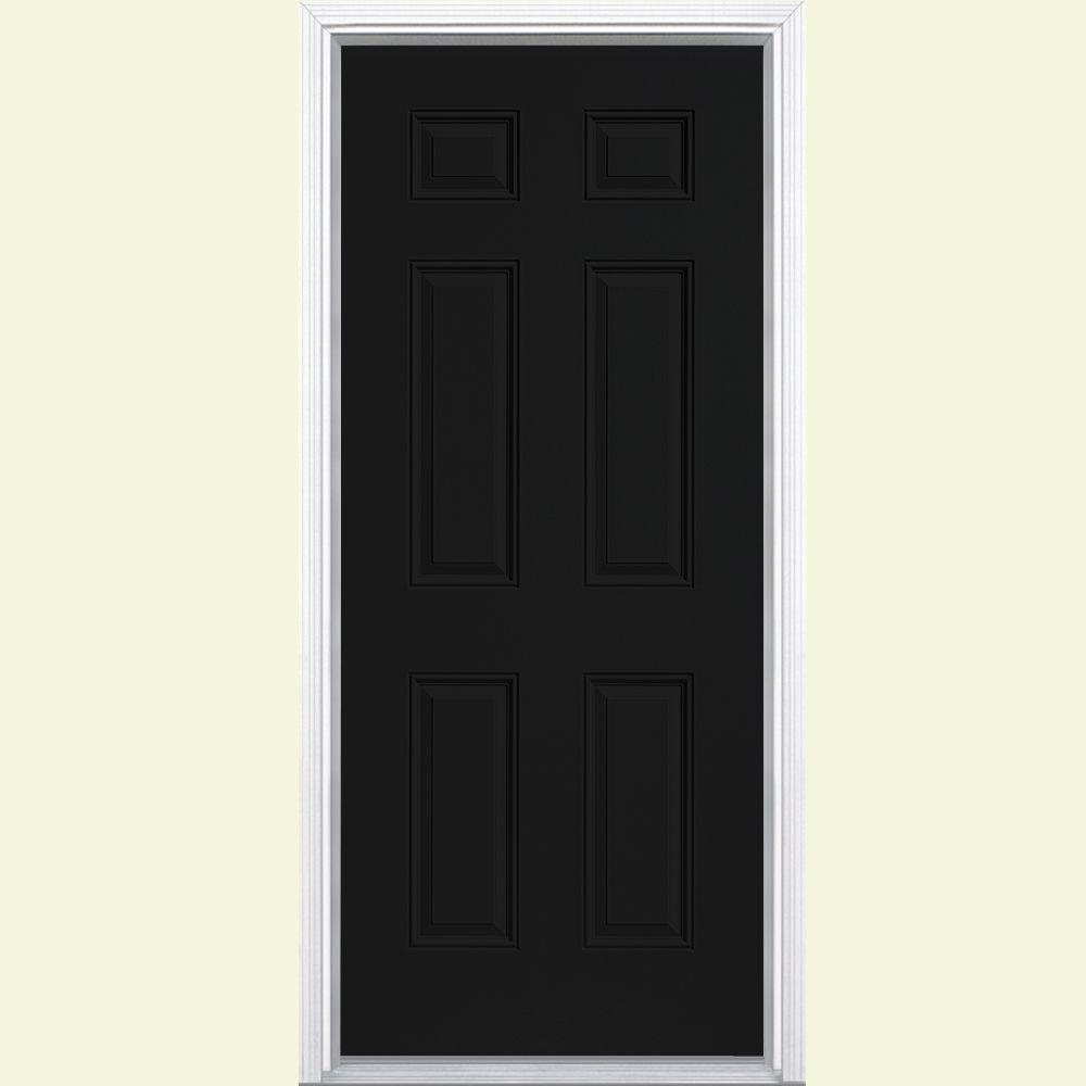 Masonite 30 in. x 80 in. 6-Panel Painted Steel Prehung Front Door with Brickmold