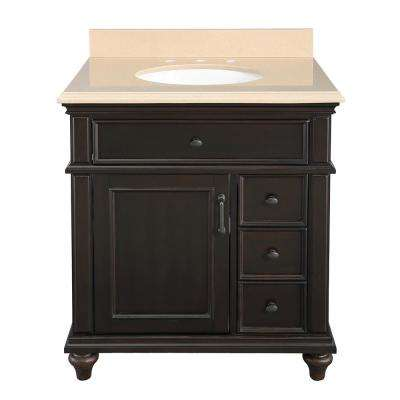 Kenbridge 31 in. W x 22 in. D Vanity in Burnished Walnut with Engineered Stone Vanity Top in Coffee with White Sink