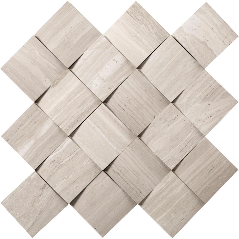 Metro Cream Cushion 13 in. x 13 in. x 15 mm Limestone Mosaic Tile (1.09 sq. ft.)