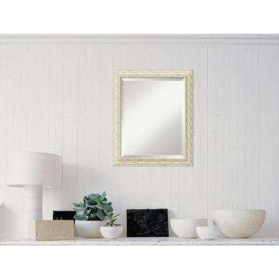 Cape Cod White Wash Wood 20 in. W x 24 in. H Distressed Framed Mirror