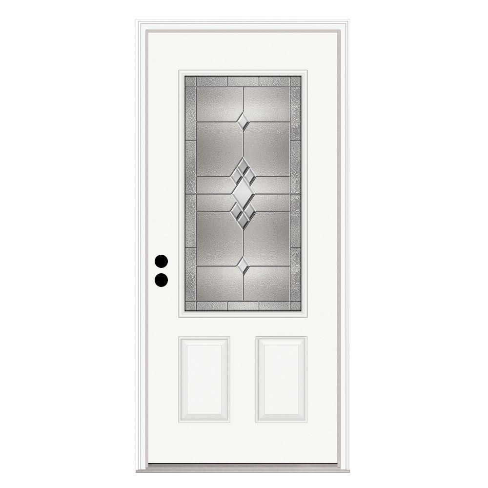 36 in. x 80 in. Kingston 3/4 Lite Primed Premium Steel Prehung Front Door with Brickmould