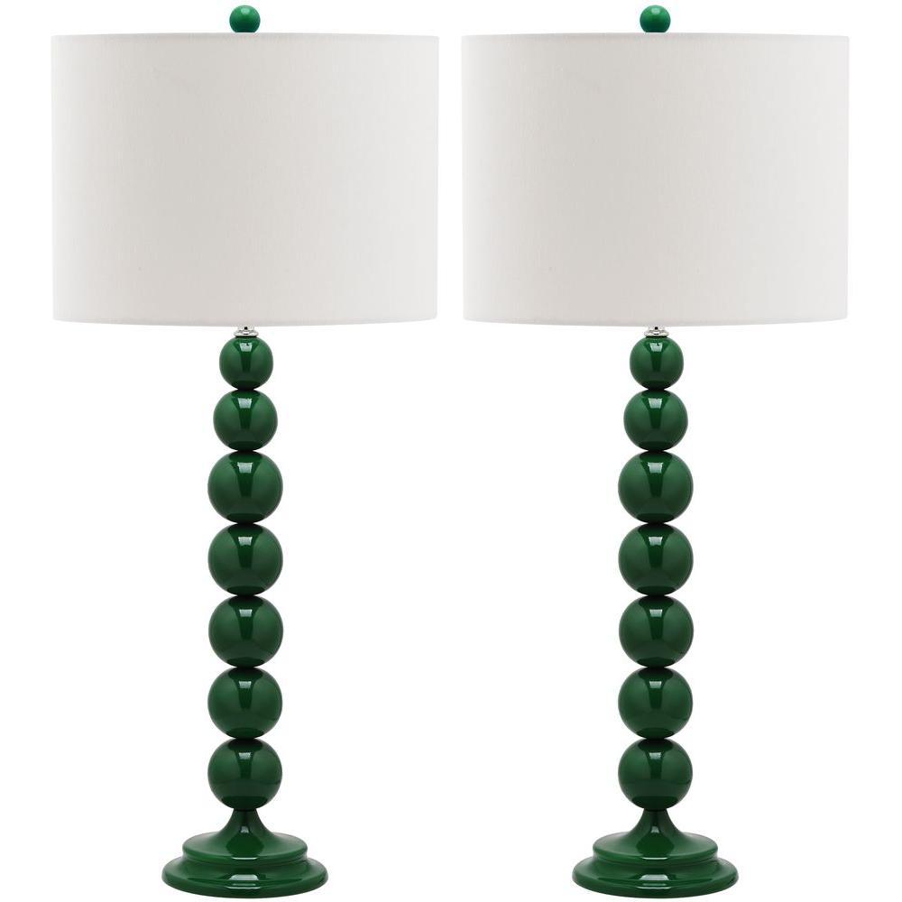 Jenna 31 in. Dark Emerald Green Stacked Ball Lamp (Set of