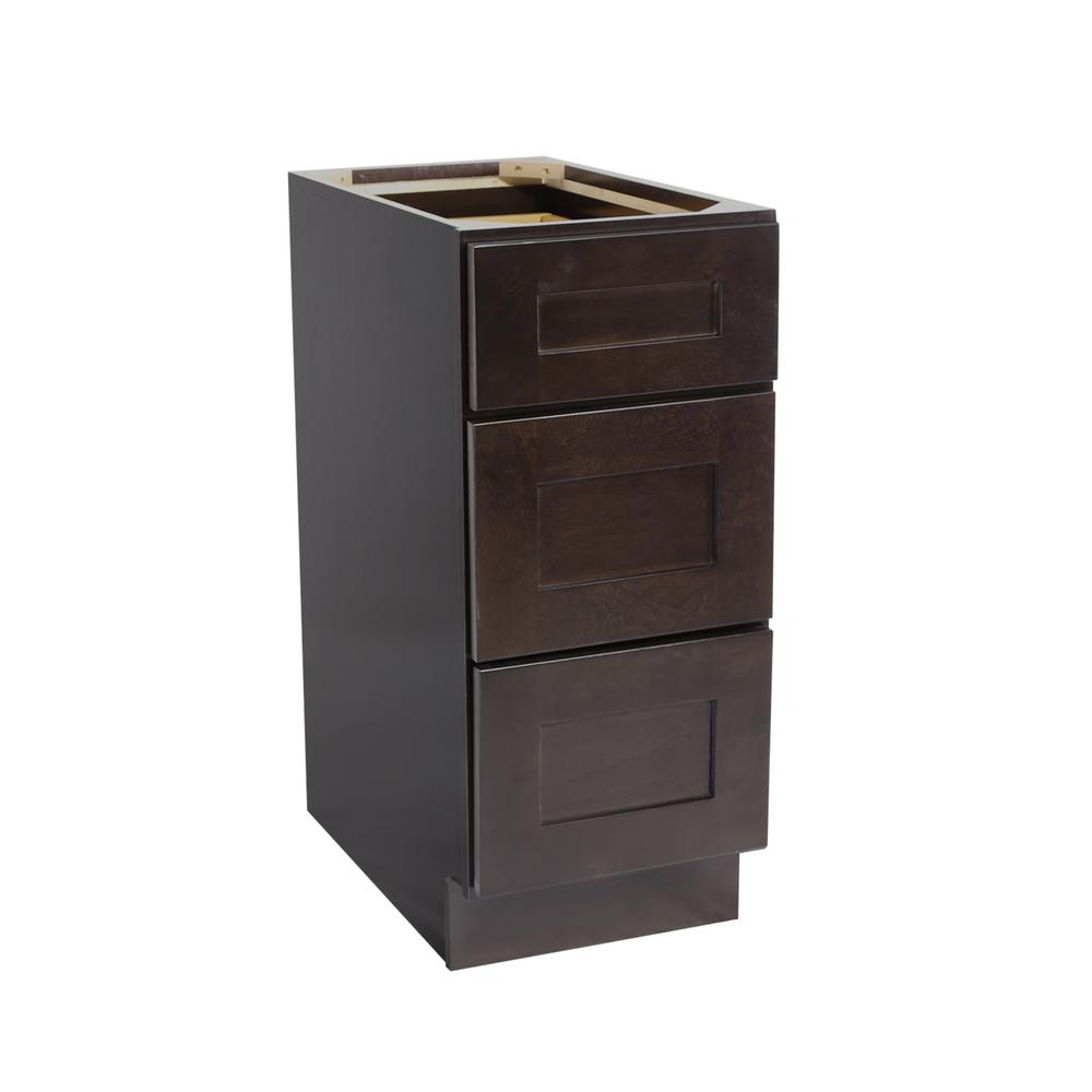 Brookings Shaker Style 3 Drawer Base Cabinet In Espresso