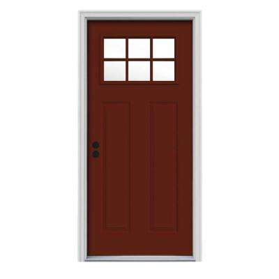 34 in. x 80 in. 6 Lite Craftsman Mesa Red Painted Steel Prehung Right-Hand Inswing Front Door w/Brickmould