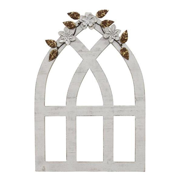 Stratton Home Decor Heart And Fleur Wood Panel Wall Decor S23756 The Home Depot