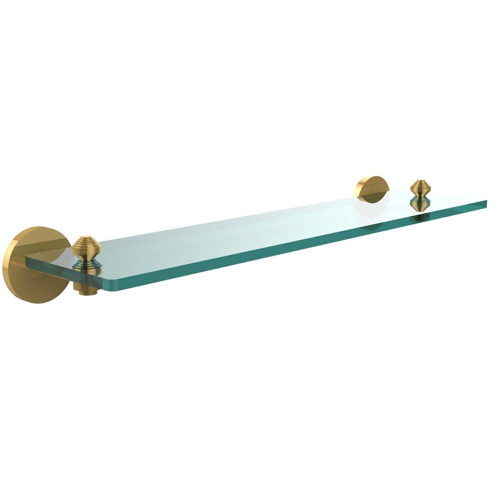 Allied Brass South Beach Collection 22 in. Glass Vanity Shelf with Beveled Edges in Unlacquered Brass