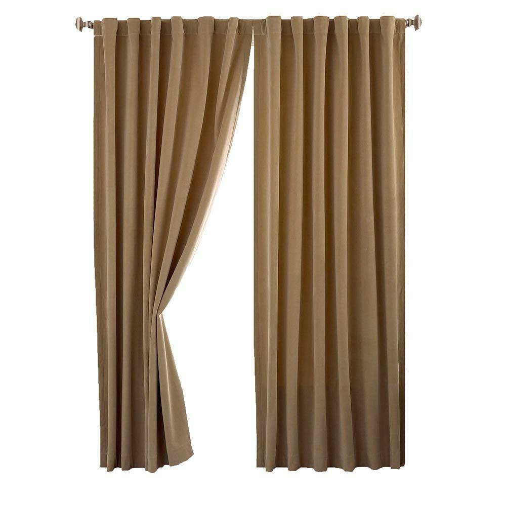 Total Blackout Cafe Faux Velvet Curtain Panel, 63 in. Length
