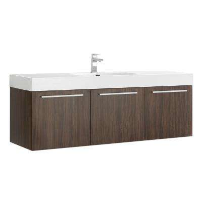 Vista 60 in. Modern Wall Hung Bath Vanity in Walnut with Vanity Top in White with White Basin