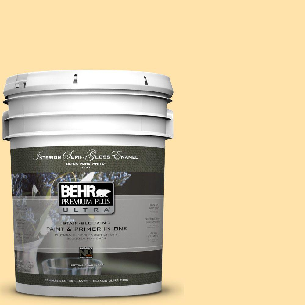 BEHR Premium Plus Ultra 5-gal. #P270-3 Sunflower Seed Semi-Gloss Enamel Interior Paint