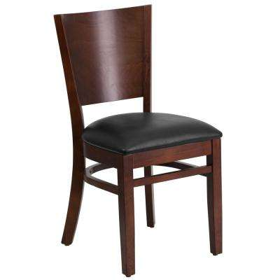 Lacey Series Solid Back Walnut Wooden Restaurant Chair with Black Vinyl Seat