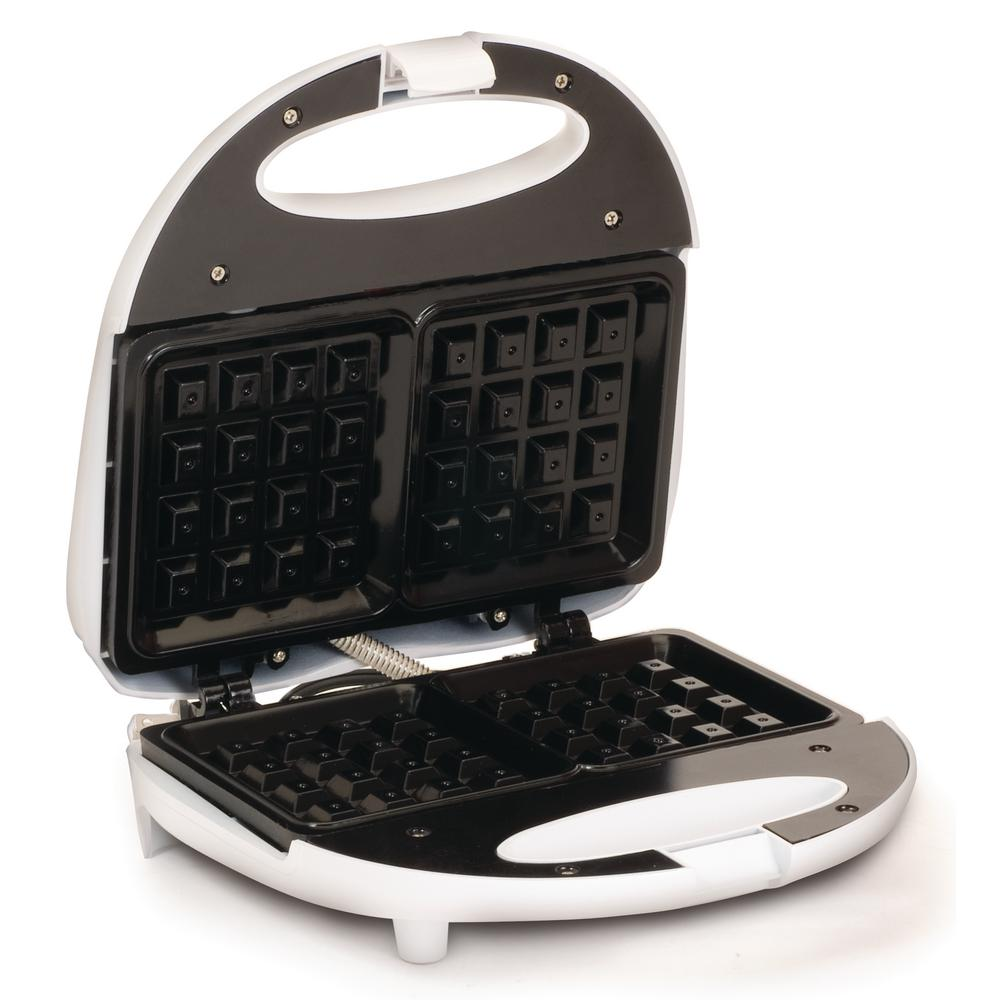 Elite 2-Waffle Non-Stick White Belgian Waffle Maker What's flat, square and better than pancakes. Waffles of course. With the Elite EWM-9008K Waffle Maker you can enjoy waffles at home without taking a trip to the local diner. Its non-stick waffle grids make deliciously crispy waffles in just minutes. The nonstick surface makes cleanup a breeze. Color: White.