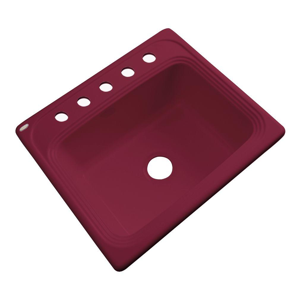 Thermocast Wellington Drop-in Acrylic 25x22x9 in. 5-Hole Single Basin Kitchen Sink in Ruby