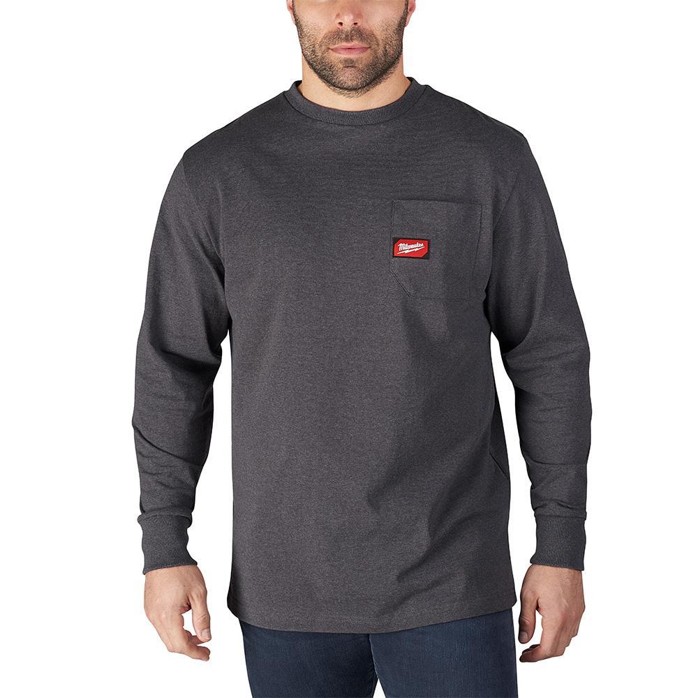 Men's 2X-Large Gray Heavy Duty Cotton/Polyester Long-Sleeve Pocket T-Shirt