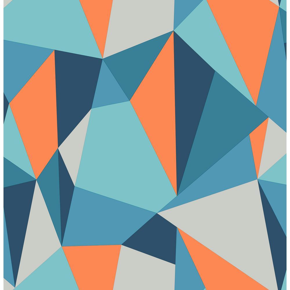 56 4 Sq Ft Kline Blue Facet Wallpaper