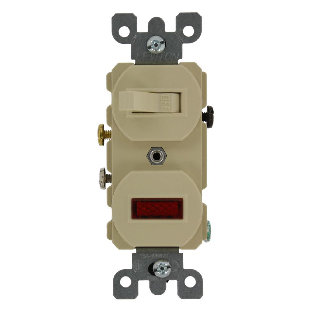Leviton 20 Amp Commercial Grade Combination Single Pole Toggle Switch and Neon Pilot Light, Ivory