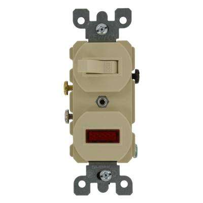 20 Amp Commercial Grade Combination Single Pole Toggle Switch and Neon Pilot Light, Ivory