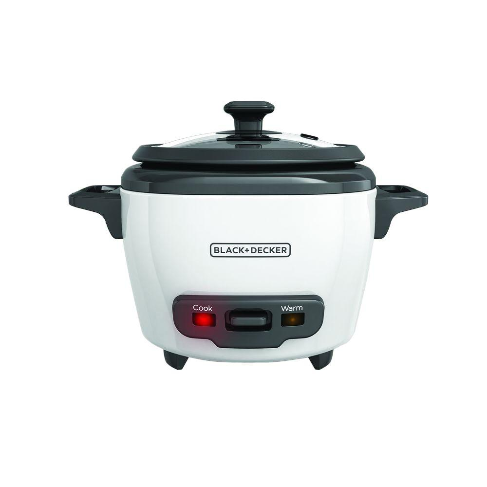 """3-Cup Rice Cooker, White Dinner is easier with the BLACK+DECKER 3-Cup Electric Rice Cooker. Cooking takes just 20-30 minutes, and then the unit's automatic """"keep warm"""" function kicks in to keep the delicious, fluffy rice ready to serve long after cooking is complete. Cleanup is a cinch with this small rice cooker thanks to the dishwasher-safe, nonstick rice pot and tempered glass lid. This personal rice cooker is perfect for single servings or dinner for two with a 1 to 3-cup capacity. Plus, use it to prepare quinoa, risotto, sushi rice, soups, stews, and even oatmeal! Color: White."""