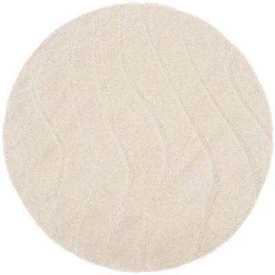 Florida Shag Cream 6 ft. 7 in. x 6 ft. 7 in. Round Area Rug