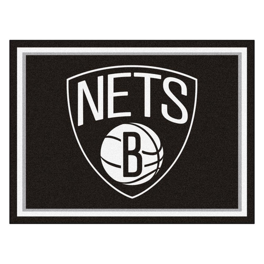 NBA Brooklyn Nets Black 8 ft. x 10 ft. Indoor Area Rug