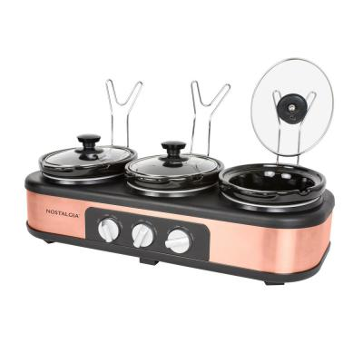 3-Station 1.5 Qt. Copper Slow Cooker with Temperature Controls and Non-Stick Interior