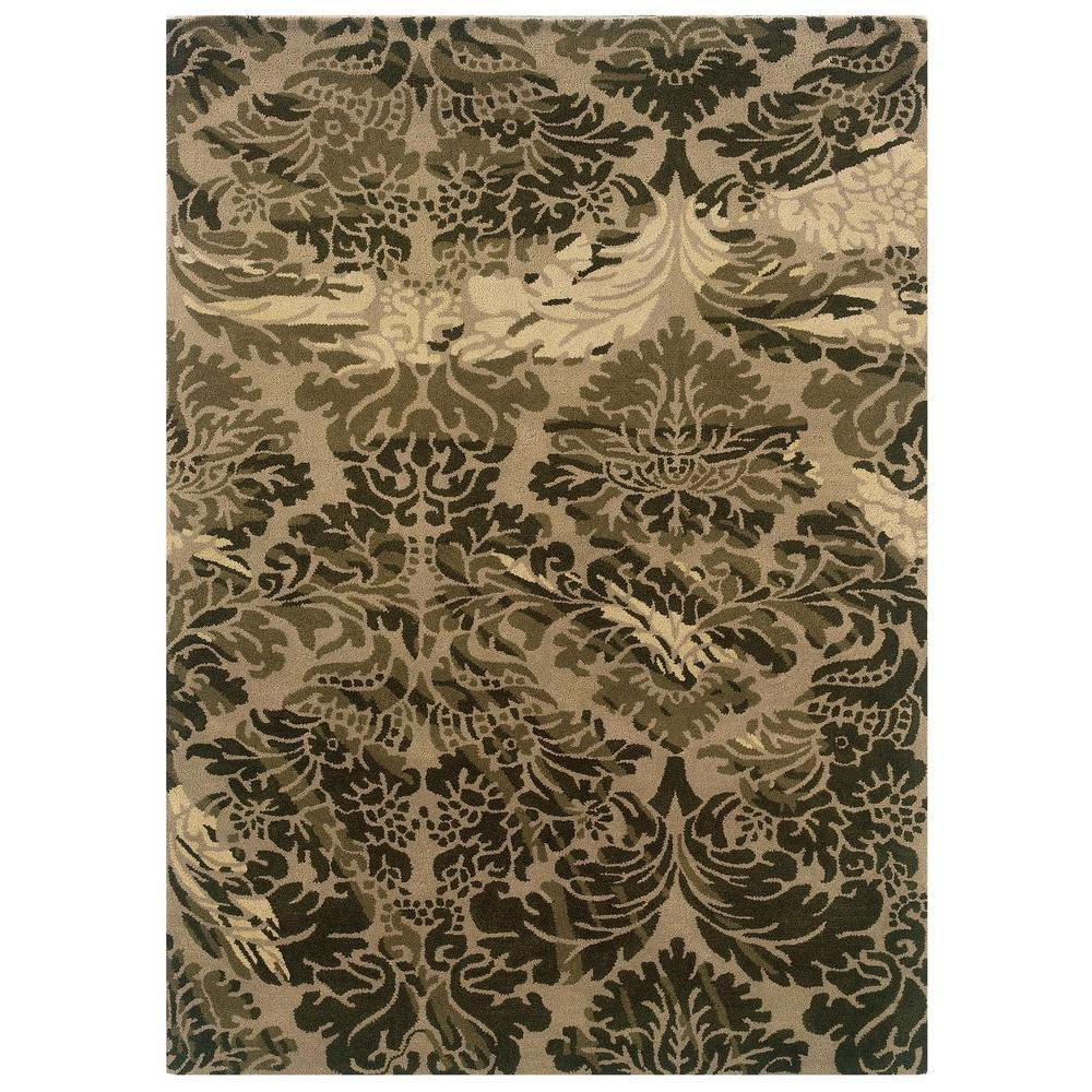 Linon Home Decor Florence Collection Taupe And Olive 8 Ft X 10 Ft Indoor Area Rug Rug Fl0381