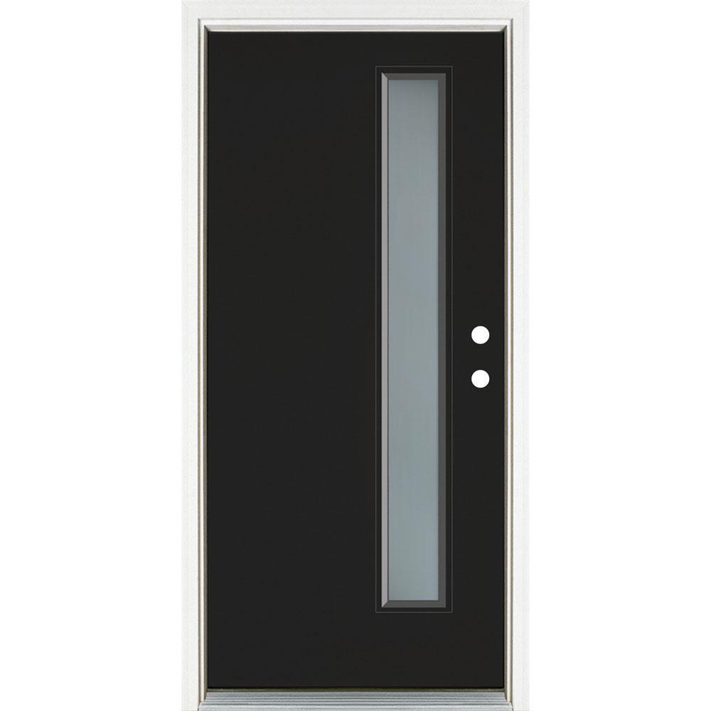 36 in. x 80 in. Left-Hand Inswing Narrow Lite Frosted Glass Black Painted Fiberglass Prehung Front Door
