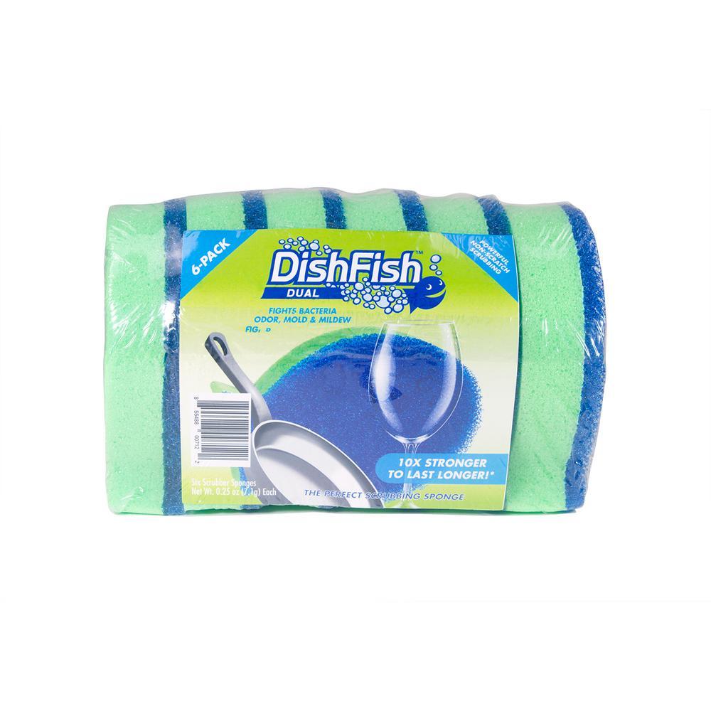 DishFish Dual Scrubber Sponge (6-Pack)