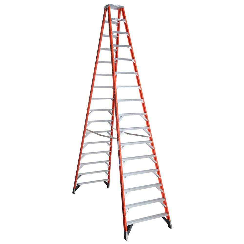Werner 16 ft. Fiberglass Twin Step Ladder with 300 lb. Lo...