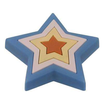 Kids Corner Star 2 in. x 1-7/8 in. Multi-Colored Metal Cabinet Knob
