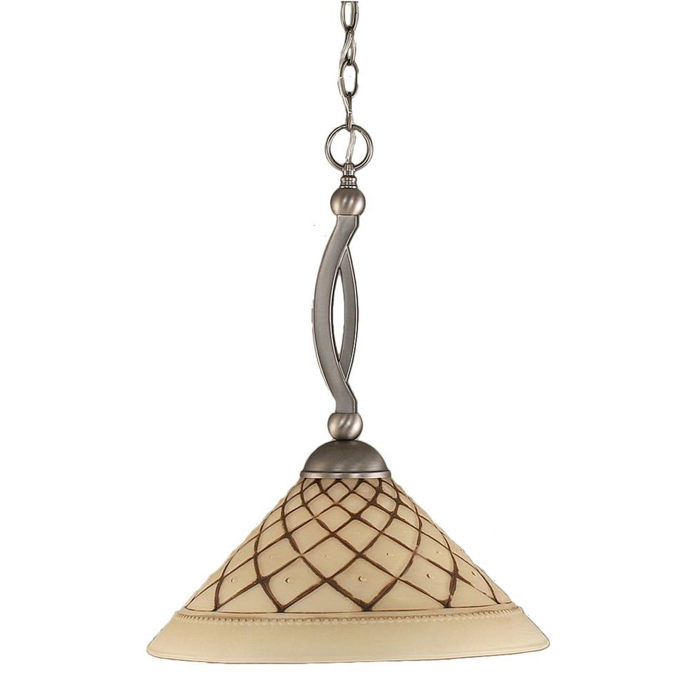 Concord 1-Light Brushed Nickel Pendant with Chocolate Icing Glass