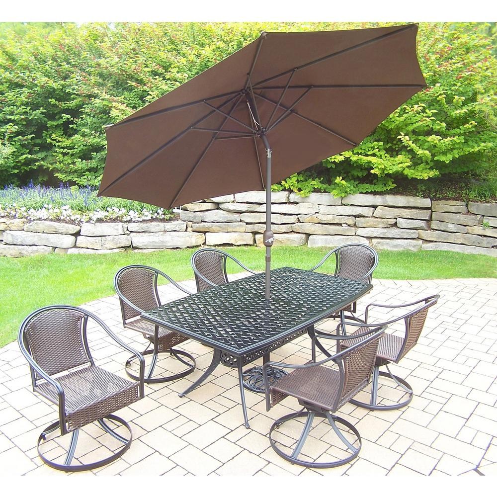 Outdoor Patio Furniture 7pc Multibrown All Weather Wicker: Hampton Bay Spring Haven Brown 7-Piece All-Weather Wicker