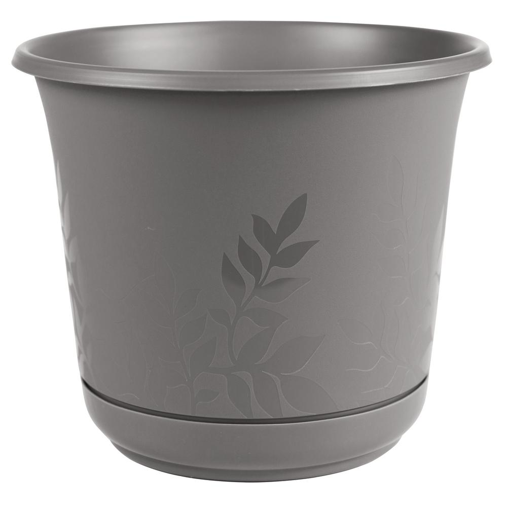 Bloem Freesia 16 in. x 15 in. Charcoal Plastic Planter with Saucer