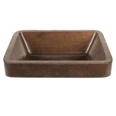 Rectangle Skirted Hammered Copper Vessel Sink in Oil Rubbed Bronze