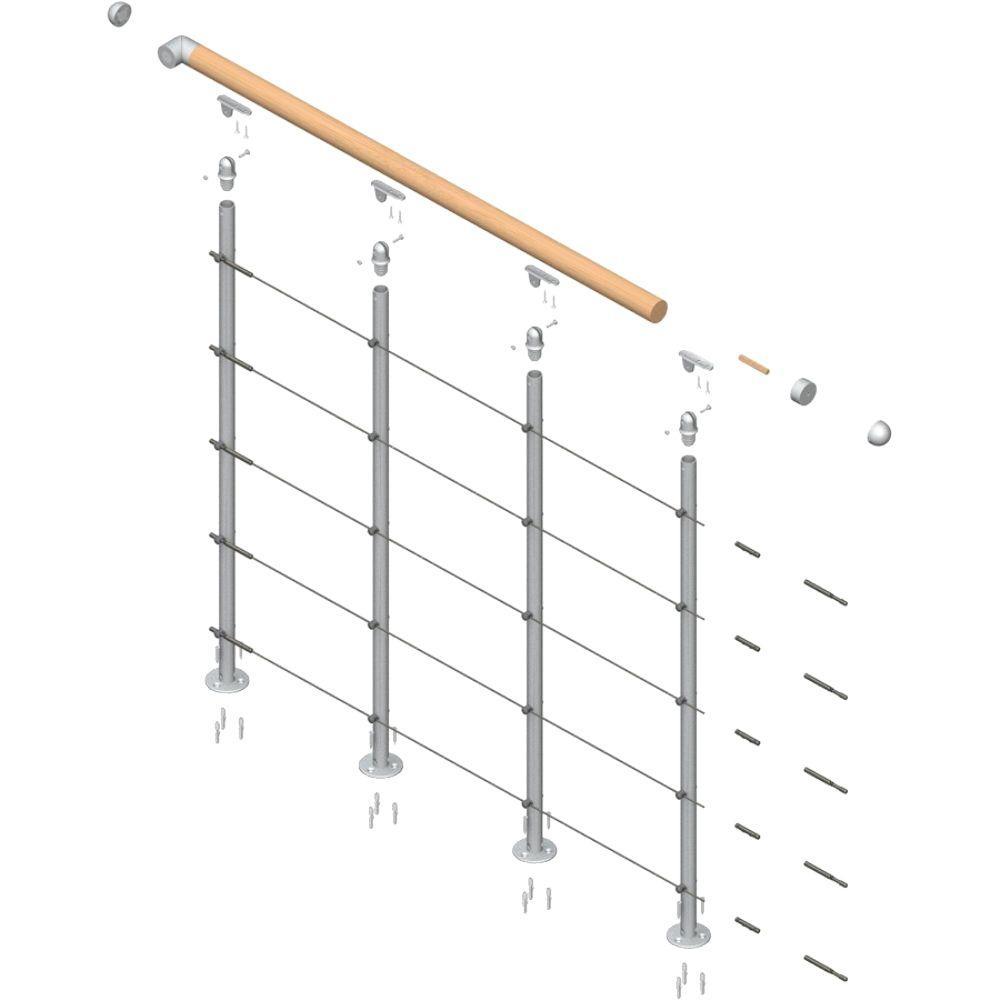 dolle rome 42 in  balcony railing starter kit-68370
