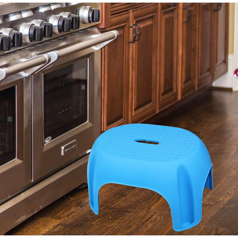 8.5 in. Blue Plastic Step Stool