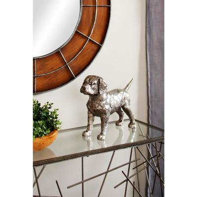 Large Metallic Silver Beagle Dog Statue with Crackle Texture