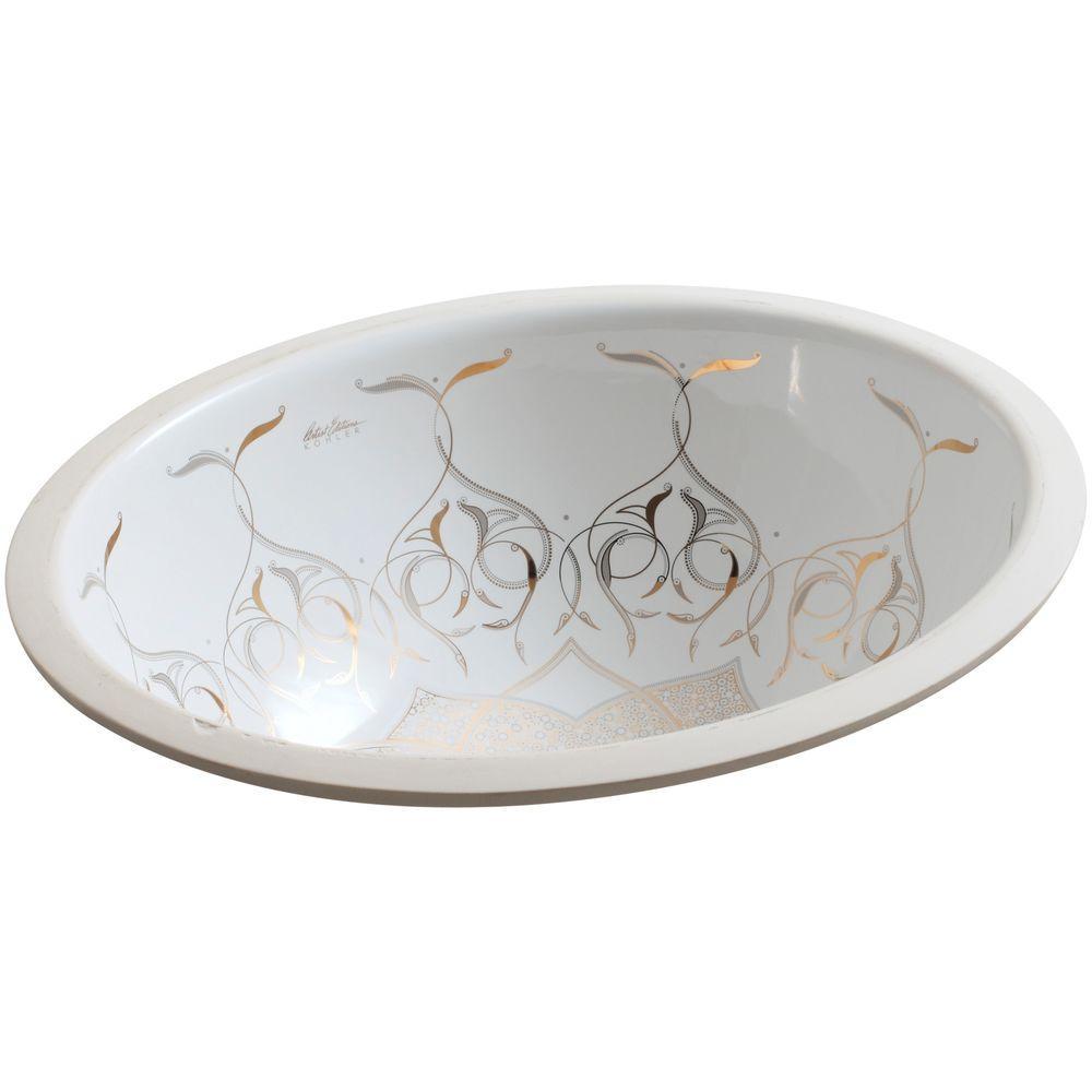 Kohler Caravan Collection Persia On Caxton Vitreous China Undermount Bathroom Sink In White K