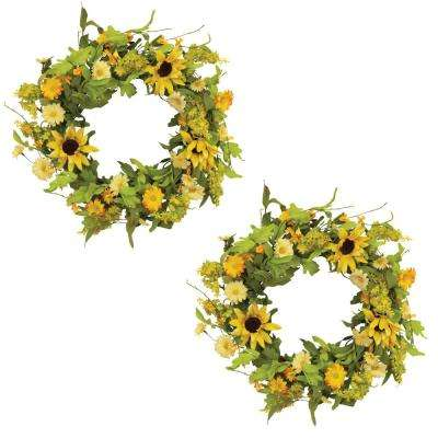 24 in. Natural Twig Sunflower Wreaths (2-Set)