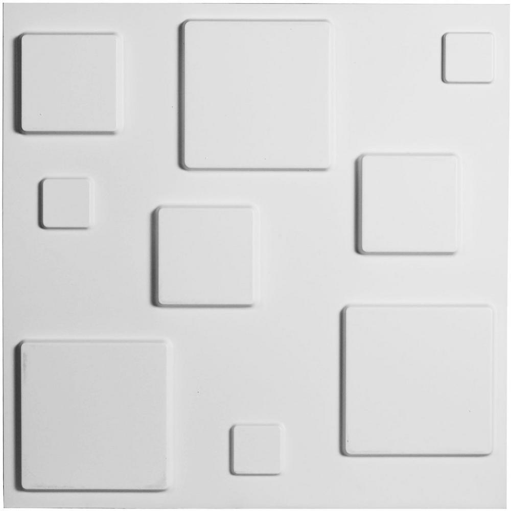 Ekena Millwork 3/8 in. x 19-5/8 in. x 19-5/8 in. PVC White Devon EnduraWall Decorative 3D Wall Panel