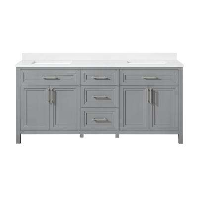 Mayfield 72 in. W x 22 in. D Vanity in American Gray with Cultured Marble Vanity Top in White with White Basins