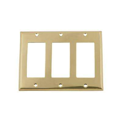 New York Switch Plate with Triple Rocker in Polished Brass