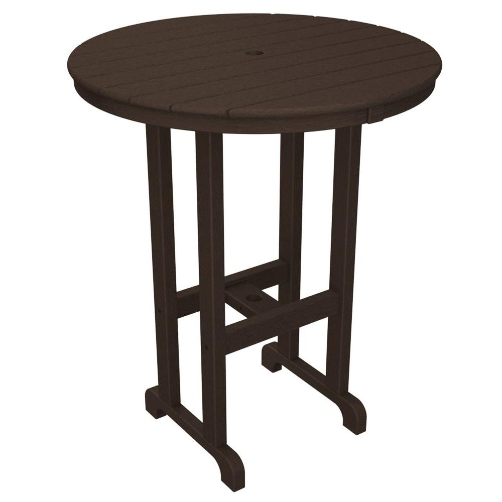 La Casa Cafe Mahogany 36 in. Round Plastic Outdoor Patio Bar