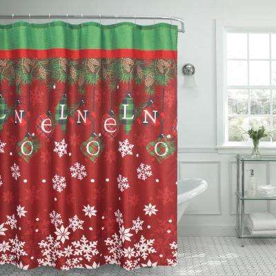 Noel Textured Shower Curtain Red  Bath Accessories The Home Depot